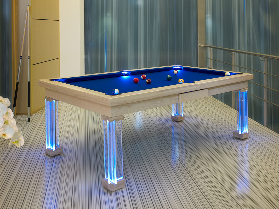 Stained White Dining Room Pool Table